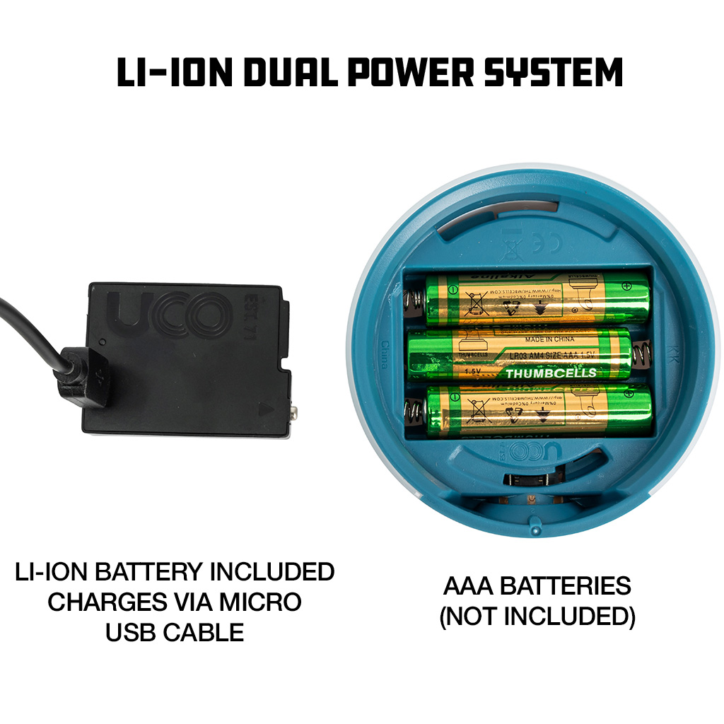 uco dual power li-ion battery aaa system